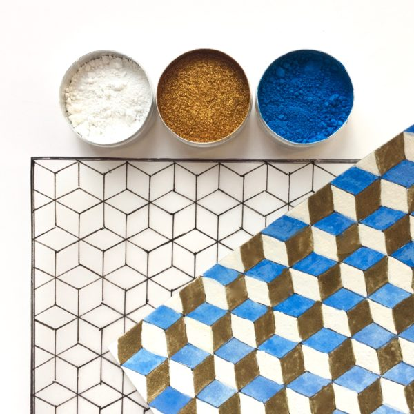 version bleue pour modèle cube pigments